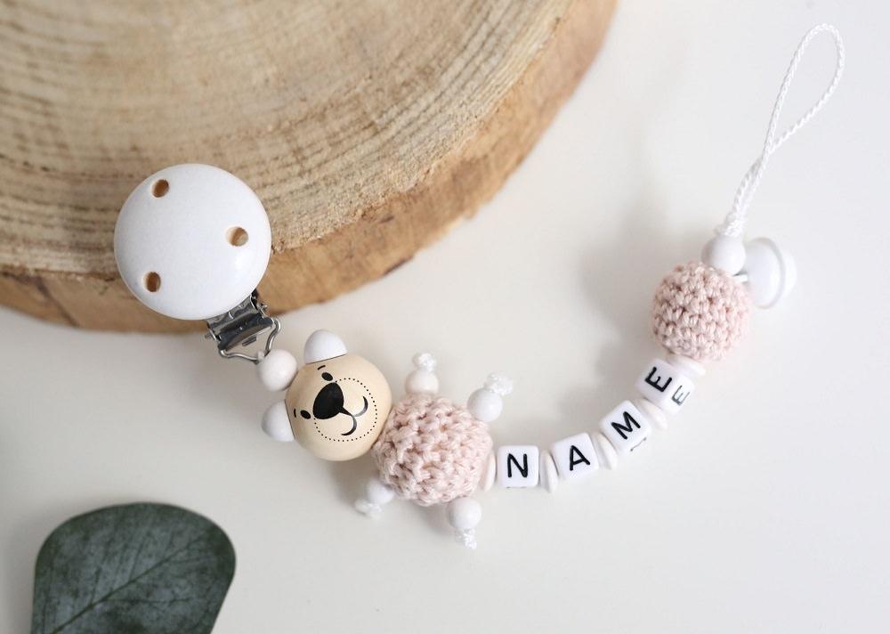Schnullerkette mit Namen Junge Elefant Babygeschenk personalisiert Holz